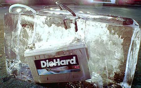 DieHard Platinum Battery in a Block of Ice