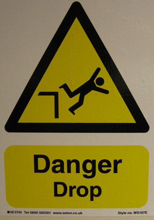 UK Elevator Danger Drop Sign