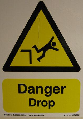 UK Elevator Danger Drop Sign