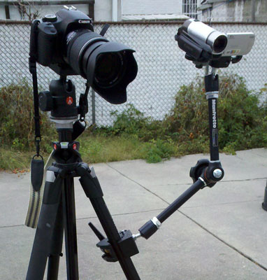 Manfrotto Super Clamp Magic Arm & Camera Bracket Attached to Tripod