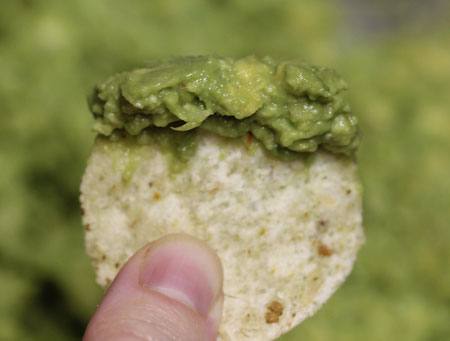 Homemade Guacamole on a Bite-Size Chip